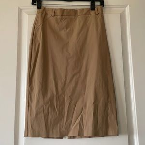 Cue High Waisted Pinstripe Tan Pencil Skirt Size S